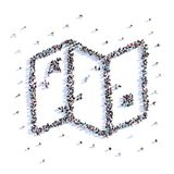 A lot of people form map, hike, icon . 3d rendering. A lot of people form map, hike, icon on a white background. 3d illustration. 3d rendering royalty free illustration