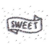A lot of people form sweet, icon . 3d rendering. A lot of people form sweet, icon on a white background. 3d illustration. 3d rendering Royalty Free Stock Images