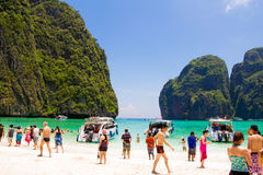 A lot of people in Mahya bay, Public holidays in Thailand Royalty Free Stock Images