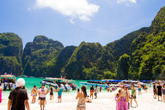A lot of people in Mahya bay, Thailand ong weekend Stock Photo