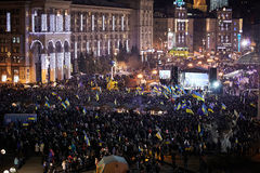 A lot of people on Maidan Nezalezhnosti during the revolution in Ukraine Stock Photos