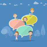 A lot of people and Message balloon. Vector image Vector Illustration