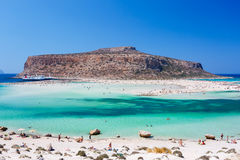 A lot of people relaxing in the Balos bay on Crete island. Greece. Royalty Free Stock Images