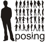 A lot of people silhouettes. High quality traced posing people silhouettes vector illustration vector illustration