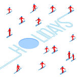 Lot of people skiing around word `Holidays` Stock Image