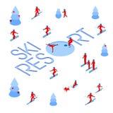 Lot of people skiing around words `Ski Resort` royalty free illustration