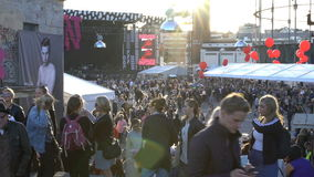 A lot of people on the streets during the festival of visual arts. HELSINKI, FINLAND - AUGUST 12, 2016: A lot of people on the streets during the Annual festival stock video