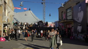 A lot of people on the streets during the festival of visual arts. HELSINKI, FINLAND - AUGUST 12, 2016: A lot of people on the streets during the Annual festival stock video footage