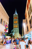 Lot of people, tourists, in Zadar during summer nights. ZADAR, CROATIA - JULY 30, 2015: Lot of people, tourists, in Zadar during summer nights Royalty Free Stock Photography