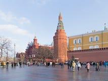 A lot of people walk around the Kremlin walls Stock Image