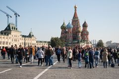 September 2917, Moscow, Russia. Red square with a rest people. A lot of people walk on red square in Sunny day output Stock Images