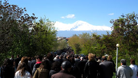 Lot of people on the way to Mt. Ararat Royalty Free Stock Photography