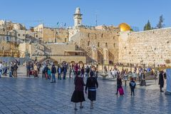 Lot of people at Western Wall in Jerusalem Stock Photography