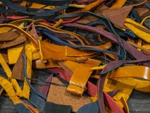 A lot of Pieces of colorful leather stock images