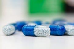 Lot of pills capsules close up Royalty Free Stock Photos