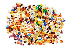 Lot of pills, isolated Stock Photo