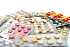 Lot of pills at the packages Royalty Free Stock Images