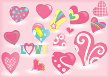 A lot of pink hearts Royalty Free Stock Photos