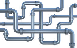 Lot of pipes. Many pipes intersecting each other (3d render royalty free illustration