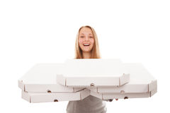 It is a lot of pizza for you! Royalty Free Stock Images