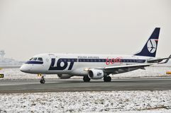 LOT plane Embraer 170 SP-LII Royalty Free Stock Image