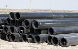 Sanitary piping. It is a lot of plastic pipes on building Royalty Free Stock Photos