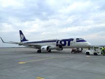 Lot Polish Airlines aircraft. Lot Polish Airlines Embraer 175 at the Rzeszow International Airport Stock Image