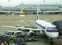 LOT Polish Airlines Embraer during turn around in Brussels airport in Belgium. Stock Photography