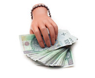 A lot of Polish money in plastic hand Stock Photos
