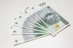 A lot of polish money on white Royalty Free Stock Images