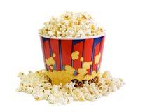 Lot of popcorn. A lot of popcorn on white stock photos