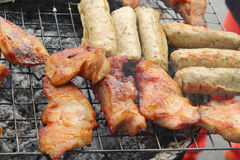 A lot of pork on the grill Stock Photo