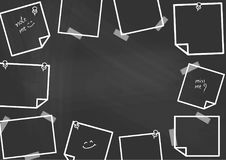 A lot of post-it pin at the border of blackboard. A lot of post-it pin at the border of blackboard with space for text at the center. Background design for Royalty Free Stock Image