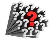A lot of question marks with one big red question Stock Images