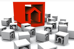 A lot of real estate cubes. Around a big cubes Vector Illustration