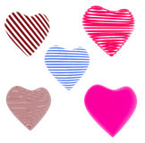 Lot of red, blue striped hearts. Isolated on white background Stock Images