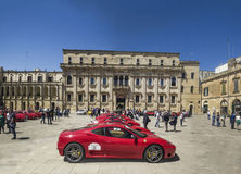 A lot of red ferrari lecce Royalty Free Stock Photography