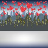 A lot of red gel balls fly against the silhouette of a big city. Bright morning sky. Lovers celebrating Valentines Day Vector. Illustration vector illustration