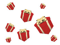 A lot of red gifts. Red presents with gold tapes Royalty Free Stock Photos