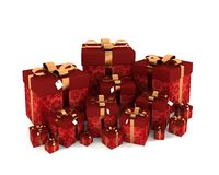 Lot of red gifts with gold bow Stock Images