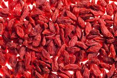 A lot of of red goji berry isolated on white background close up Stock Photo