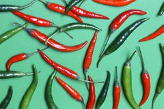 Chili peppers. Top view. stock image