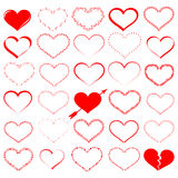 A lot of red hearts - vector set. A lot of red hearts - 2d  set Royalty Free Stock Images