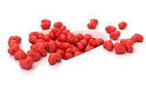 A lot of red hearts on white background Valentine`s Day. 3d illustration. A lot of red hearts on white background Valentine`s Day Stock Photo