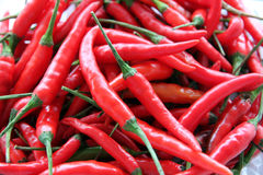 A lot of Red hot chili. Stock Photos