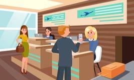 Lot rejestracja w Lotniskowej Płaskiej ilustracji ilustracja wektor