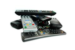Lot of remote control devices Royalty Free Stock Photo