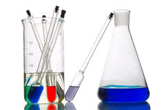 A lot of retorts with liquids of different colour Royalty Free Stock Photo