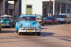 A lot of retro car taxi in the city of Havana. Old district of Serrra stock image