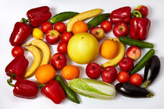 A lot of ripe vegetables and fruit Royalty Free Stock Photo